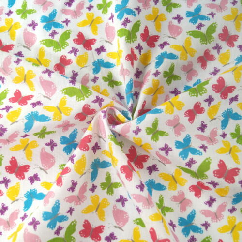 Polycotton Fabric Bright Beaming Butterfly Wings Butterflies