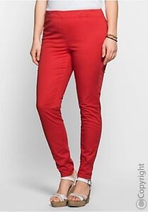 Sheego-Trousers-Jeggings-Pull-on-Stretch-Size-46-to-56-Red-Tone-401-539