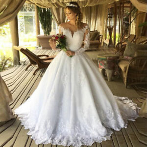 Details about White Ivory Princess Wedding Dresses Lace Bridal Ball Gown  Plus Size Long Sleeve