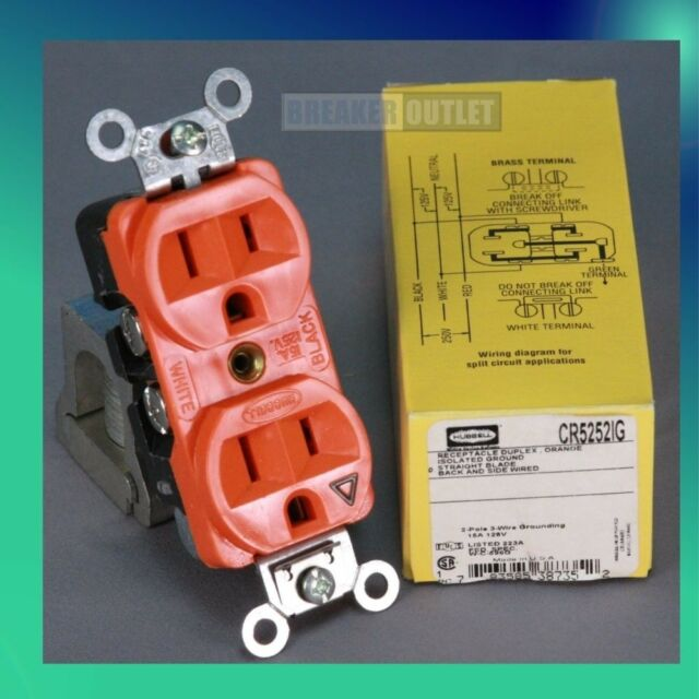 isolated ground receptacle wiring diagram new 20a isolated ground receptacle hubbell cr5352ig orange  new 20a isolated ground receptacle