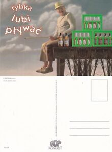 FISHERMAN-amp-WHISKY-WHY-WASTE-TIME-POLISH-HUMOUR-UNUSED-COLOUR-POSTCARD