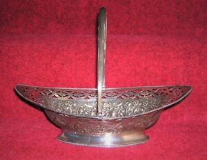 1786-GEORGIAN-BRITISH-STERLING-SILVER-BASKET-TABLE-CENTERPIECE-LARGE-PIERCED-NoR