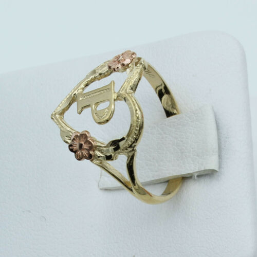 14K Real Yellow Rose Gold Initial Letter Heart Flower Women Ring A to Z Alphabet