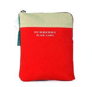 3c5e5b279475 Auth Burberry London Black Label Red Cotton Canvas Clutch Hand Pouch ...