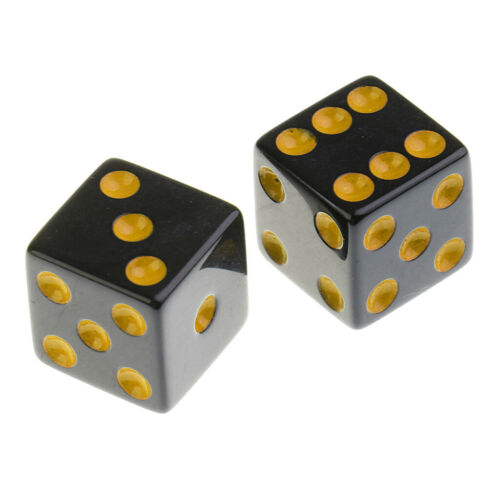 Set of 10 Acrylic Six Sided D6 16mm Standard Dice Die Black w// Yellow Pips