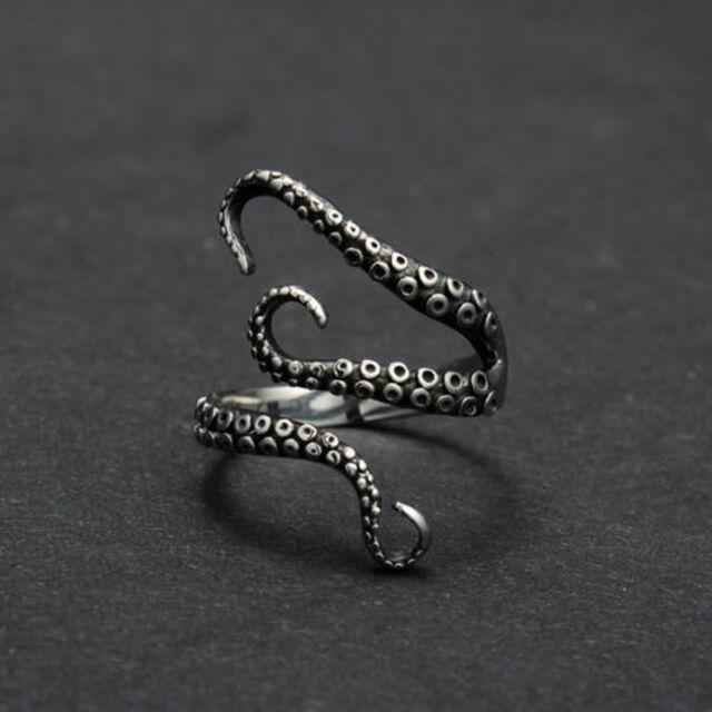 2017 Men Punk Titanium Steel Gothic Deep Sea Octopus Finger Open Ring