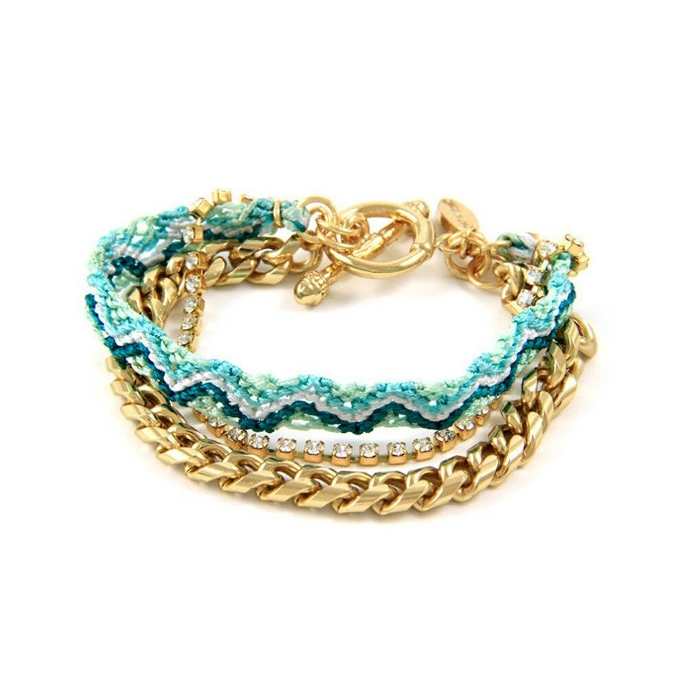 Ettika Bracelet friendship Crystal White,Cotton Braided Green and Plated gold
