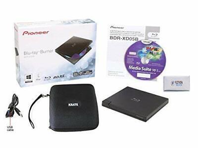 Renewed Bonus CyberLink Media Suite 10 Windows Software - Supports BDXL//BD//DVD//CD Pioneer BDR-XD05B 6x Slim Portable USB 3.0 Blu-Ray Burner Black