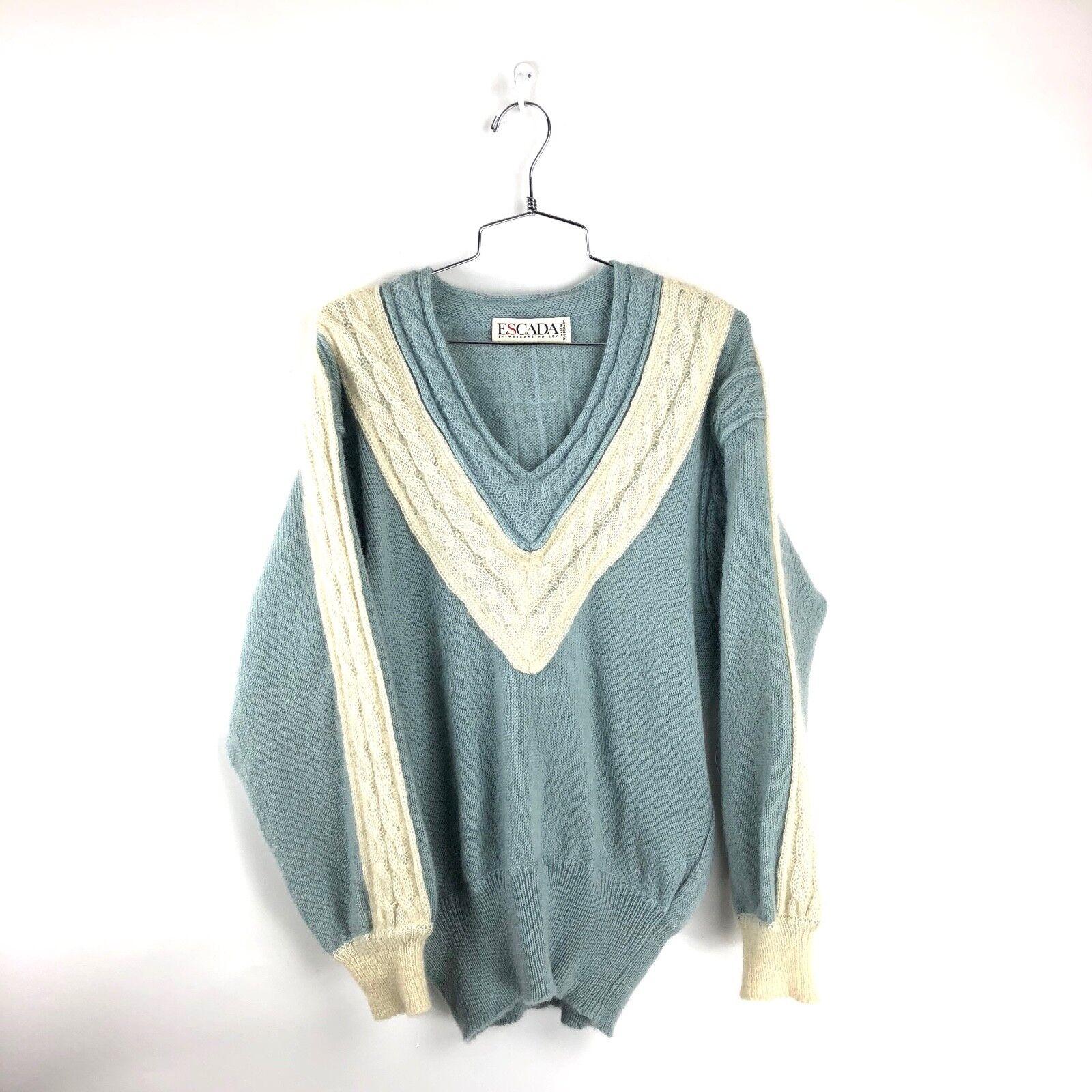 VTG Escada Sweater Size 34 Small Sweatshirt Acrylic Knit bluee Womens