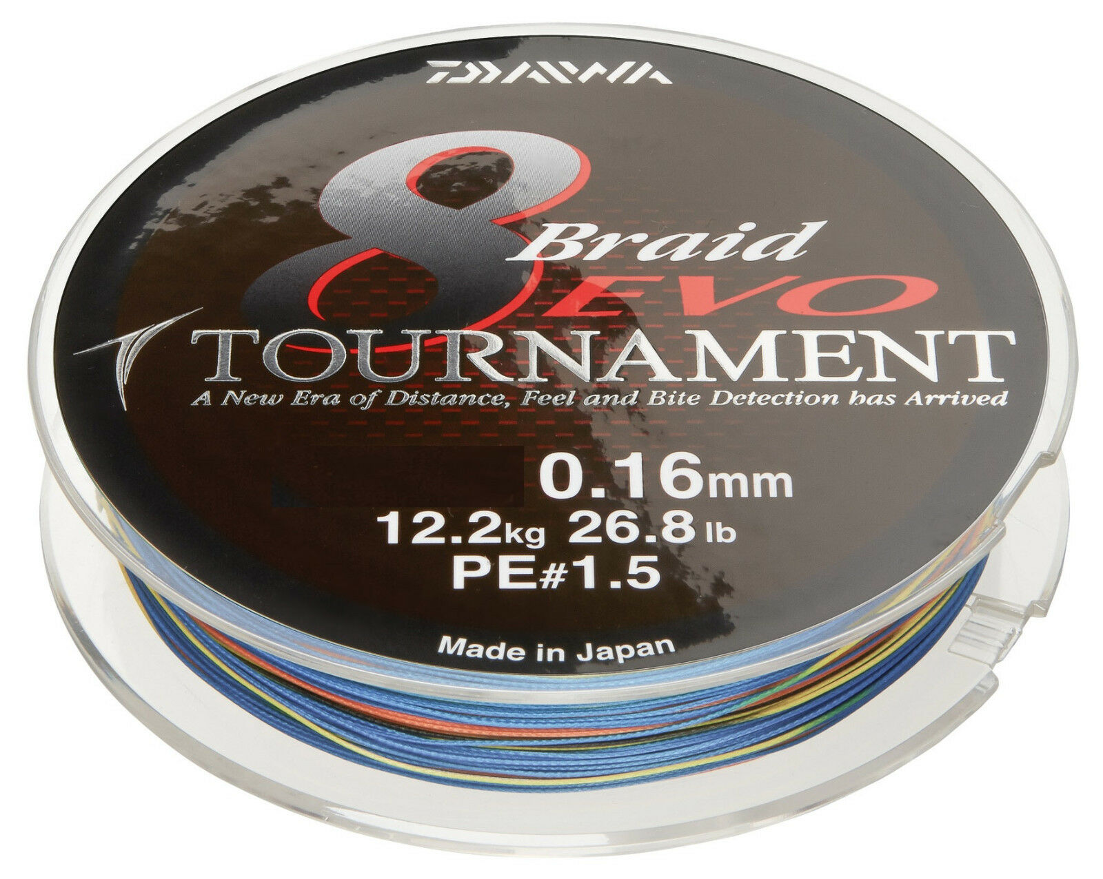 Daiwa Tournament 8 Braid Evo 0,12mm 8,6kg 300m Multi Colour Geflochtene Schnur