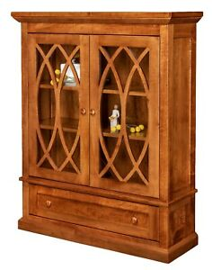 best website ae6c9 e3d0e Details about Amish Transitional Solid Wood Bookcase Glass Doors Drawer  Office Furniture