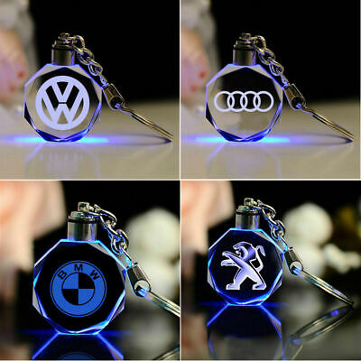 UK LED Laser Engraved Crystal Car Key Chain Badge Night Light Hanging Rings Gift