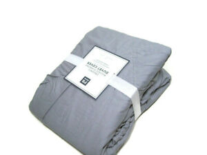 Pottery-Barn-Teen-Gray-Organic-Cotton-Ruched-Diamond-Twin-Duvet-Cover-New