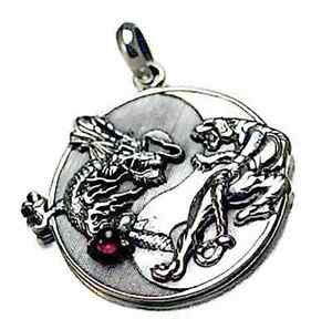 Cool large yin yang dragon tiger real sterling silver garnet pendant image is loading cool large yin yang dragon tiger real sterling aloadofball Images