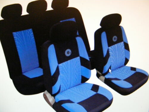 SEAT SKODA Universal Car Seat Covers Full Set Blue//Black Velour Fabric 14401