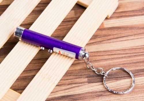 1X Mini Ultraviolet Money Detector Red Laser Pointer Pen LED Flashlight Keychain