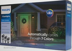 Philips 3 Color Changing Spotlights Automatically Cycles through 7 Colors NIB