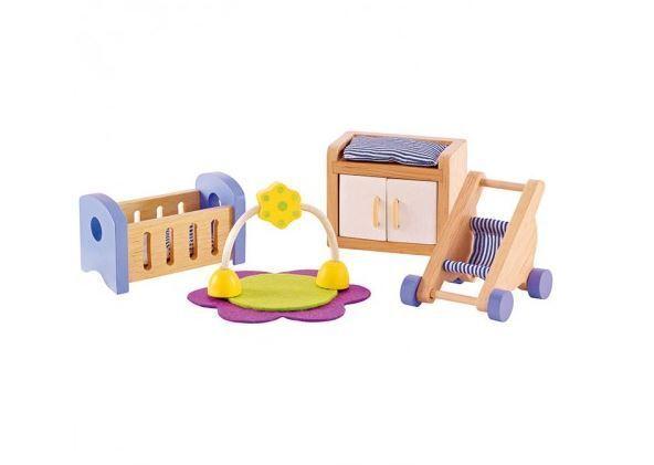 Hape All Seasons Baby Room Doll Wooden Furniture dollhouse nursery cot stroller