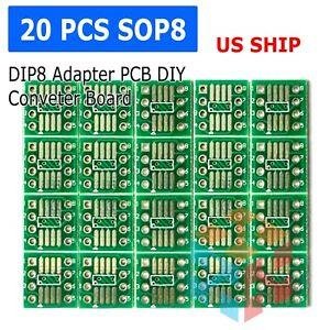 20PCS SOP8 SO8 SOIC8 TSSOP8 MSOP8 to DIP8 Adapter PCB DIY Conveter Board LE