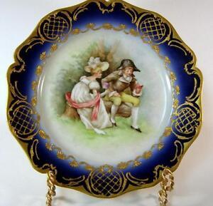 Antique-Guerin-Limoges-Hand-Painted-Romantic-Couple-Cobalt-amp-Gilt-Cabinet-Plate