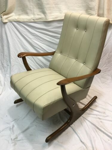 Retro Vintage Danish Leather Rosewood Rocking Chair Armchair 50s 60s 70s