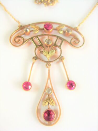 Art Nouveau Collar Gold 585 with Tourmalines and White Sapphires