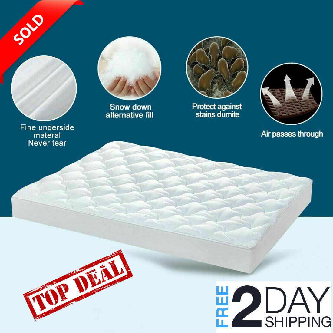 Mattress Pad Cover Snow Down Pillow Top Breathable Hypoallergenic Topper Bed