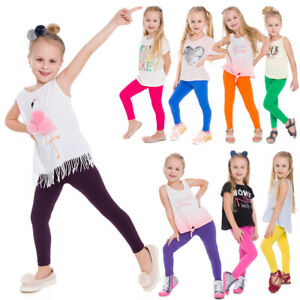 Children-Kids-Girls-Plain-Cotton-Thick-Full-Length-Leggings-Party-Pants-All-Ages