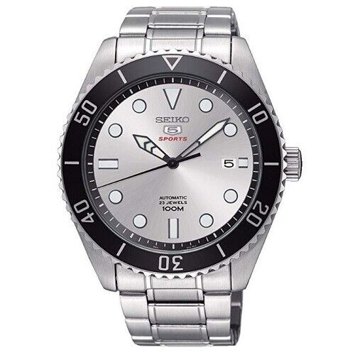Seiko 5 Sports SRPB87 K1 Silver Dial Stainless Steel Mens Automatic Analog Watch
