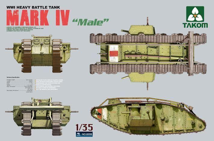 Char Britannique  MARK IV  Male  1917-1918 - KIT TAKOM INTERNATIONAL 1 35 n° 2008  qualité authentique