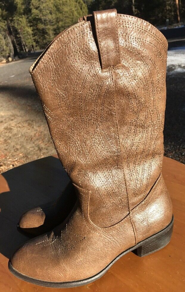 SBICCA Women's Brown Pull On Mid-Calf Cowboy Western Boots Size 8.5M US