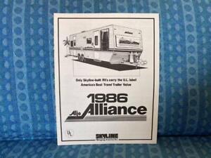 1986 Aljo Alliance Travel Trailer 5th Wheel Original Sales Brochure Floorplans Ebay