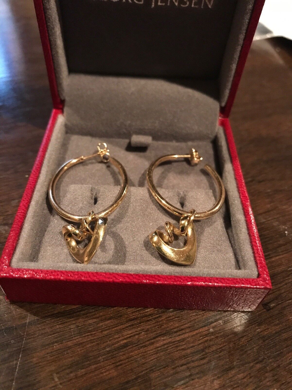 GEORG JENSEN gold 18k  drop earrings With Hearts - 2003