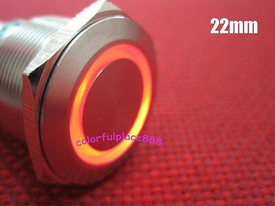 1, 22mm 12V Red Led Stainless Switch Momentary Push Button 6 Pins Waterproof
