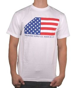 Diamond White Usa >> Details About Diamond Supply Co Black Or White Usa Made American Flag Stars Stripes T Shirt