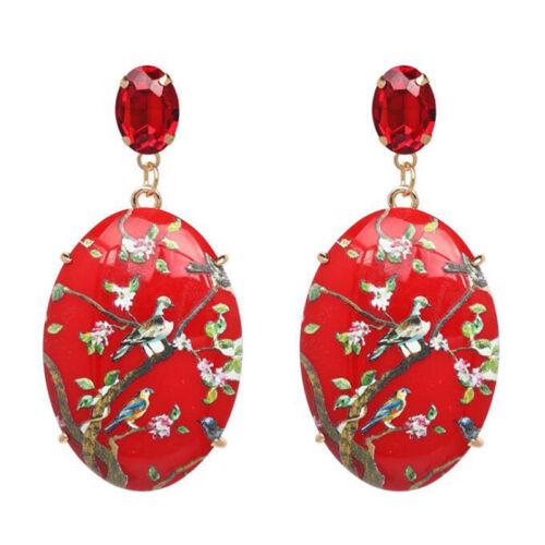 Boho Women Crystal Resin Geometric Enamel Printed Bird Ear Stud Dangle Earrings