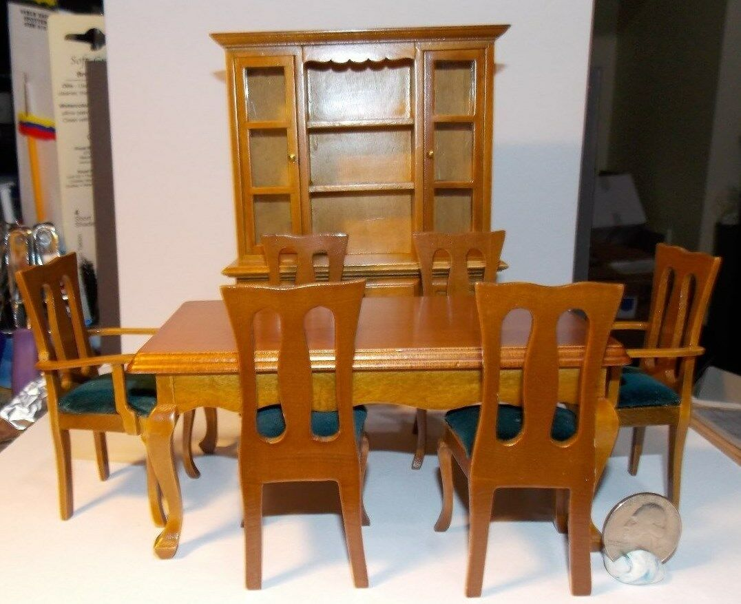 Dollhouse Miniature Dining Room Set 8 Pieces Walnut 112 Scale N1 Dollys