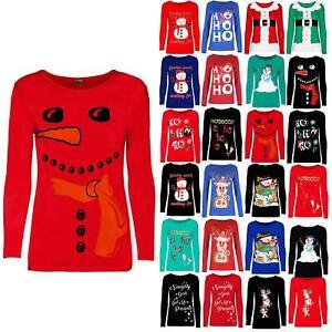 Womens Ladies Christmas Xmas Hat Snowman Hug Carrot Nose Long Sleeve Tee T Shirt