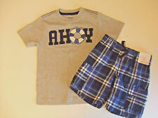 NWT Gymboree Boys SEAS THE DAY Sz 3T Gray Ahoy Tee & Plaid Cargo Shorts