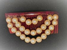 Vintage 50s/60s Hair Comb w 3 Rows Tiered 9mm Faux Pearl Beads Accessory
