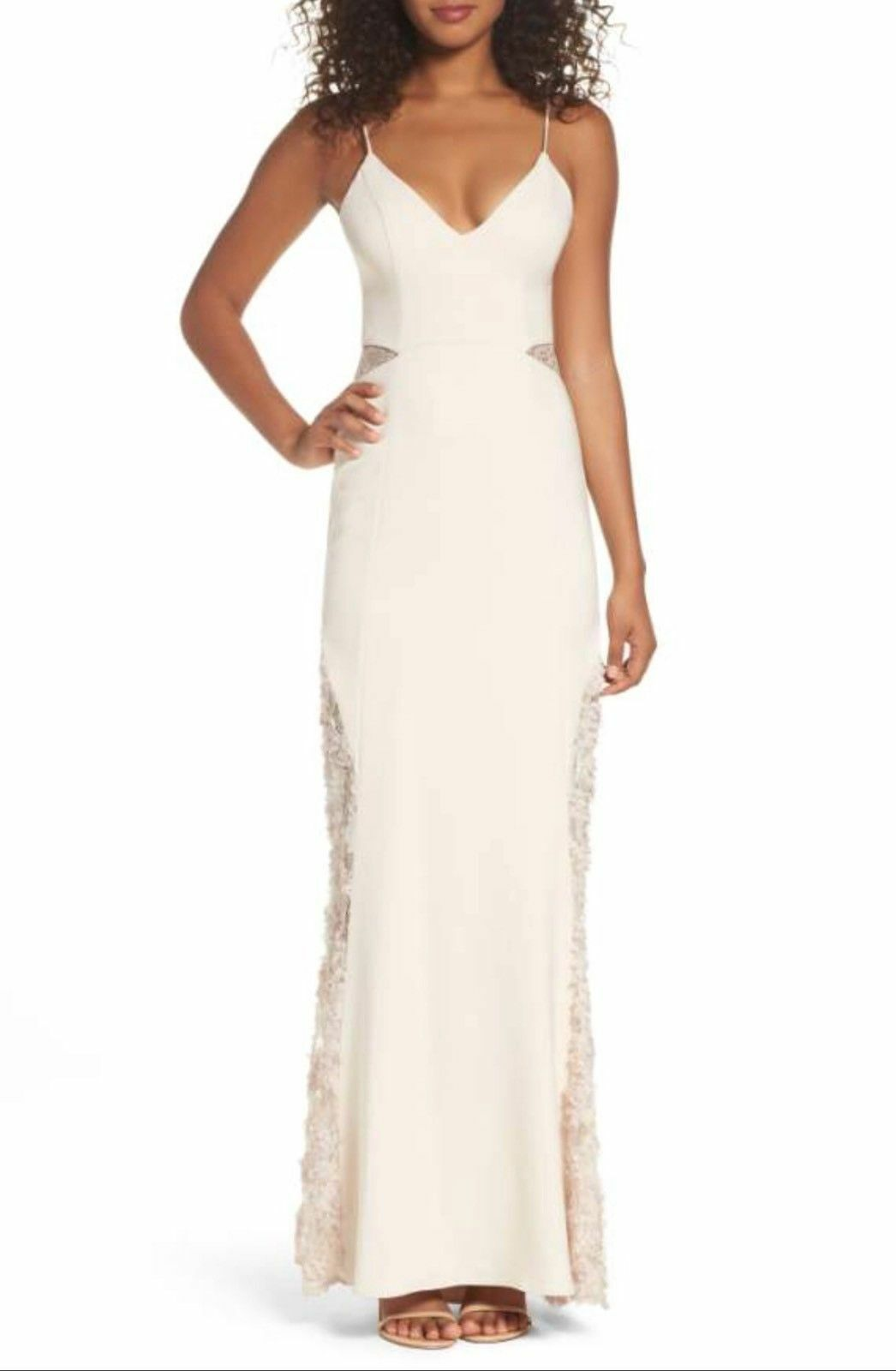 Maria white black Shannon Lace Inset Gown, Size 0