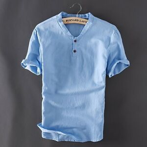 Men-039-s-Pullover-Linen-Short-Sleeves-Shirts-Solid-Cotton-Shirts-Asian-Sizes-New