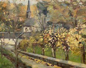 Dipinto-a-Olio-Paesaggio-Autunnale-con-Chiesa-Del-Villaggio-e-Alberi-Sconosciuto
