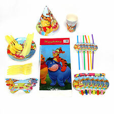 10 IN 1 Winnie The Pooh Print Birthday Pack -Caps Cups Plates With Table Set