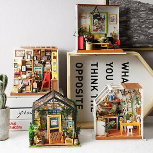 Robotime-Holz-Miniatur-Puppenhaus-DIY-Moebel-LED-Licht-Haus-Modell-Wohnkultur
