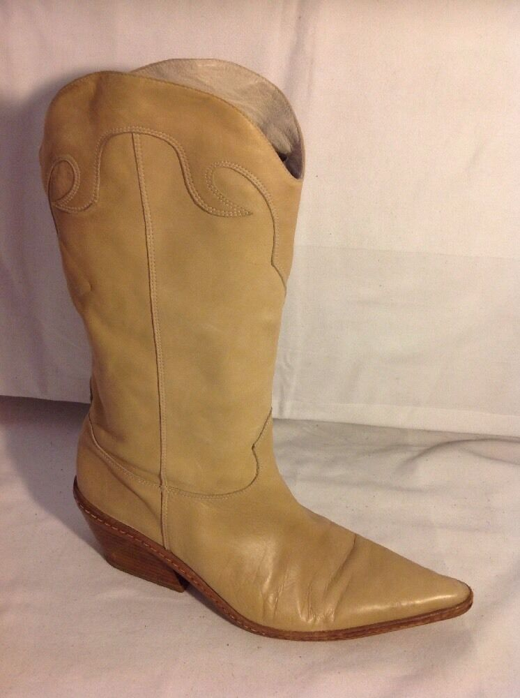 Joseph Beige Mid Calf Leather Boots Size 37