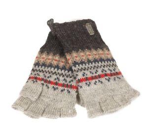 PK1319 Kusan 100/% Wool Knitted Grey Rib Wool Handwarmers Fingerless Gloves