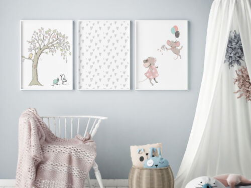 Farmhouse Mice Nursery Wall Art Prints Set Brand New