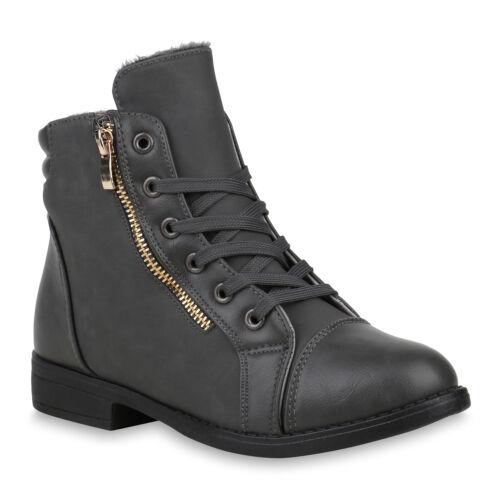 Damen Schnürstiefeletten Gesteppt Schnallen Stiefeletten 891947 Schuhe