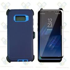 NAVY Galaxy S8 Plus + Defender Case w/Tempered Glass Screen&Clip fits Otterbox